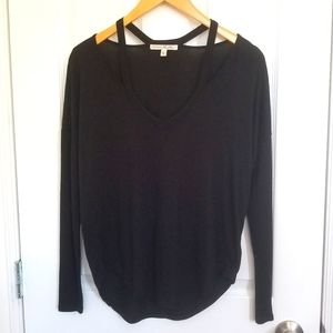 Express Strappy Collar Black Long Sleeve